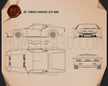 De Tomaso Pantera GT5 1980 Blueprint