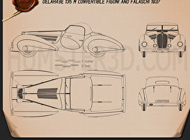 Delahaye 135M Figoni and Falaschi Convertible 1937 Blueprint