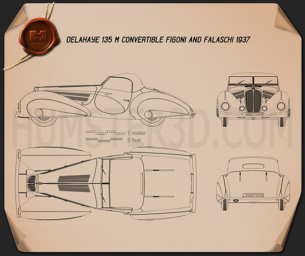 Delahaye 135M Figoni and Falaschi convertible 1937 Blueprint