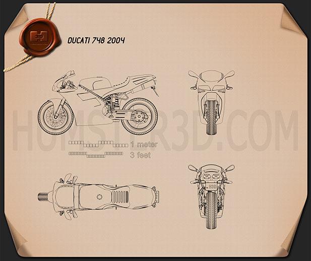 Ducati 748 Sport Bike Blueprint