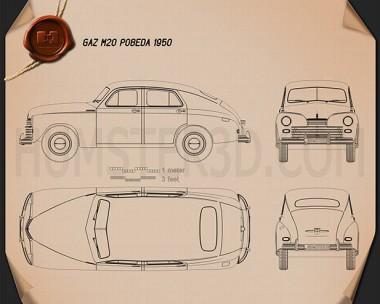 GAZ M20 Pobeda 1946 Blueprint