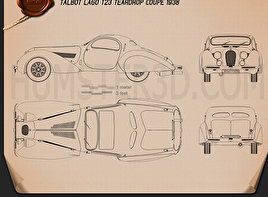 Talbot-Lago Teardrop Coupe 1938 Blueprint