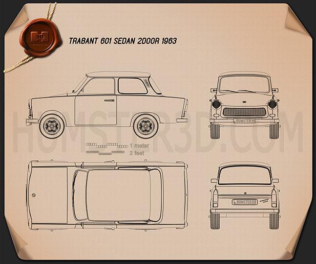 Trabant 601 sedan 1963 Blueprint