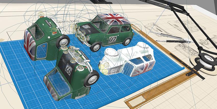 Overall scene wireframe car