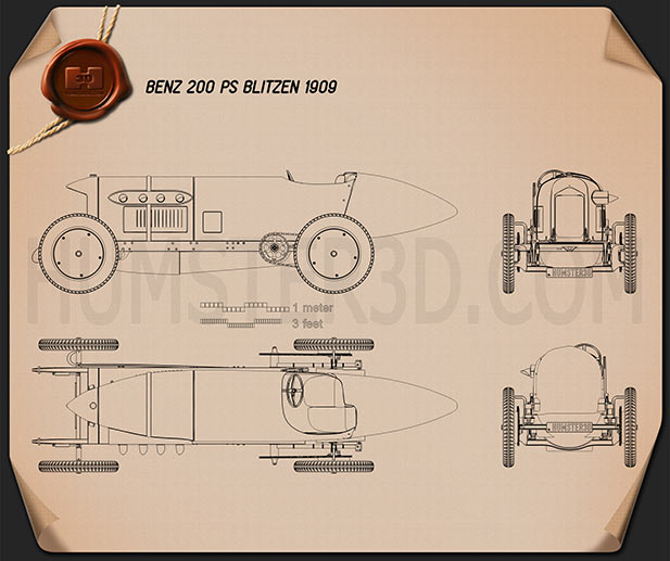 Benz Blitzen 1909 Blueprint
