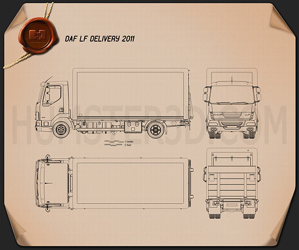 DAF LF Delivery Truck 2011 Blueprint