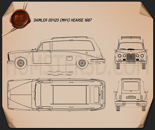 Daimler DS420 Hearse 1987 Blueprint