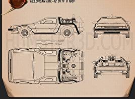 DeLorean blueprint 3D Models Download - Hum3D