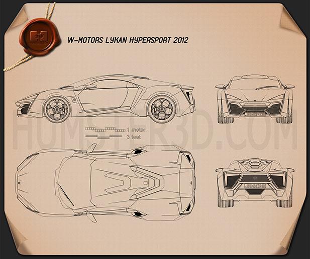 W Motors Lykan HyperSport 2012 Blueprint