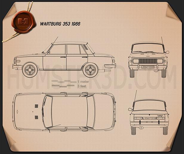 Wartburg 353 1966 Blueprint