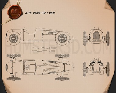 Auto Union Typ C 1936 Blueprint