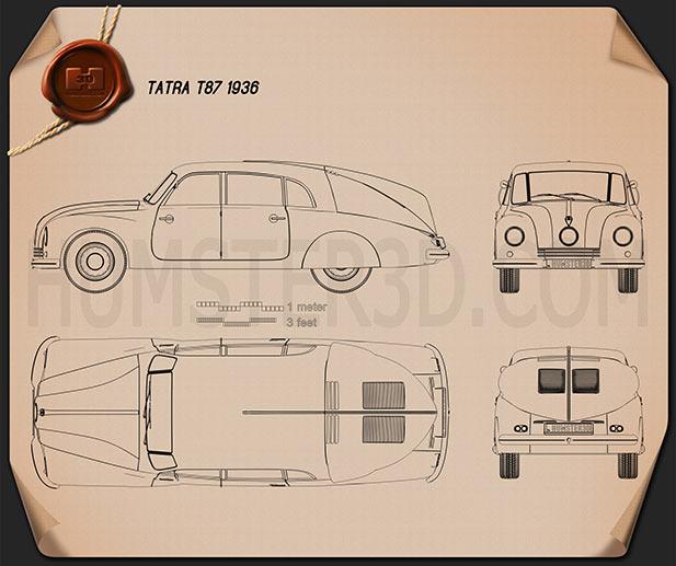 Tatra T87 1936 Blueprint