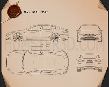 Tesla Model S 2012 Blueprint