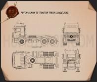 Foton Auman TX Tractor Truck 2012 Blueprint