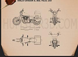 Harley-Davidson XL883L Police 2013 Blueprint