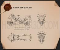 Kawasaki Ninja ZX-14R 2012 Blueprint