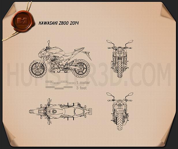 Kawasaki Z800 2014 Blueprint