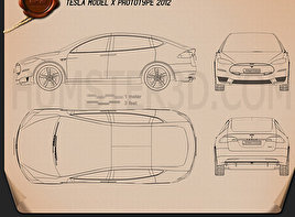 Electric car blueprint 3d models download hum3d tesla model x 2014 blueprint malvernweather Gallery