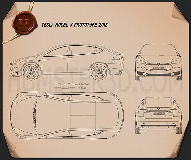 Tesla Model X 2014 Blueprint