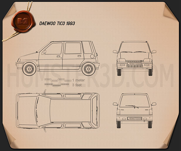 Daewoo Tico 1993 Blueprint