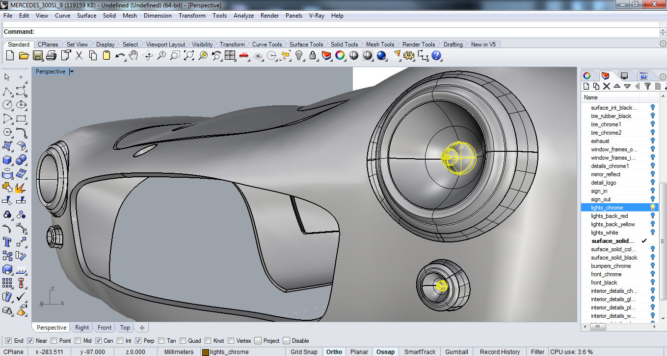 Detailing of the exterior including lights, wheels, wind shield wipers, etc