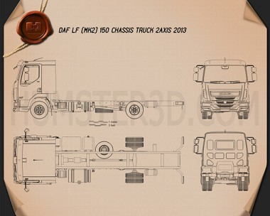 DAF LF Chassis Truck 2013 Blueprint