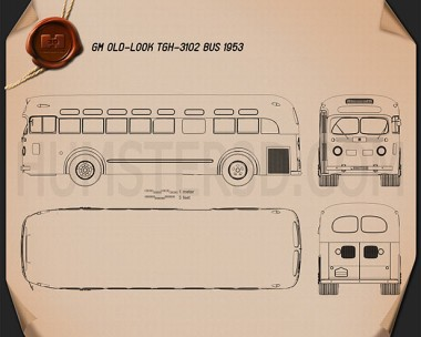 GM Old Look transit bus 1953 Blueprint