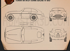Ferrari 166 Inter Berlinetta 1950 Blueprint
