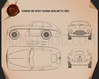 Ferrari 166 Inter Berlinetta 1950 Blueprint