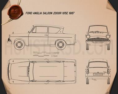 Ford Anglia 105e 2-door Saloon 1967 Blueprint