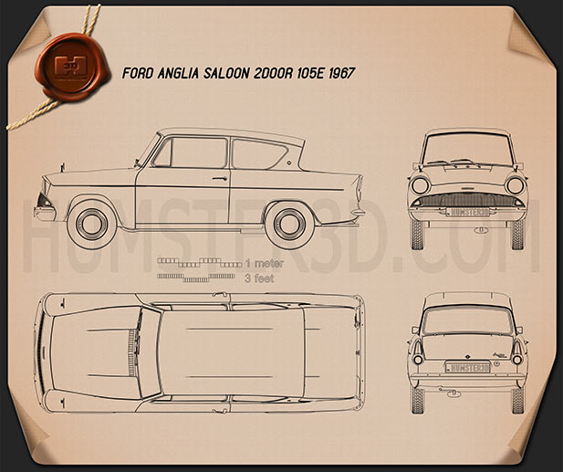 Ford Anglia 105e 2-door Saloon 1967 Blueprint