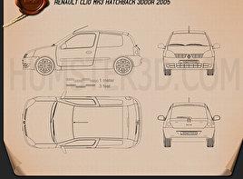 Renault Clio Mk2 3-door 2005 Blueprint