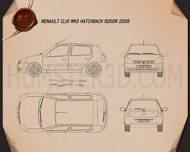Renault Clio Mk2 5-door 2005 Blueprint