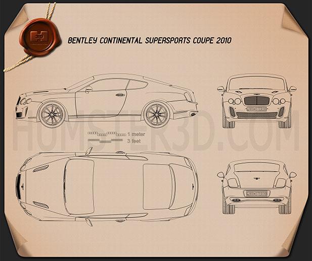 Bentley Continental Supersport coupe Blueprint