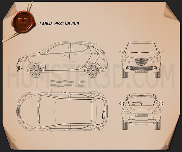Lancia Ypsilon 2011 Blueprint