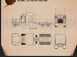 Peterbilt 379 Tractor Truck 1987 Blueprint