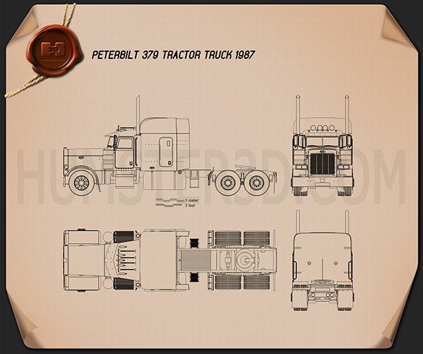 Peterbilt 379 Tractor Truck 1987 Blueprint