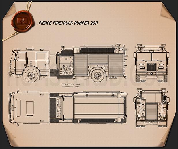 Pierce Fire Truck Pumper 2011 Blueprint