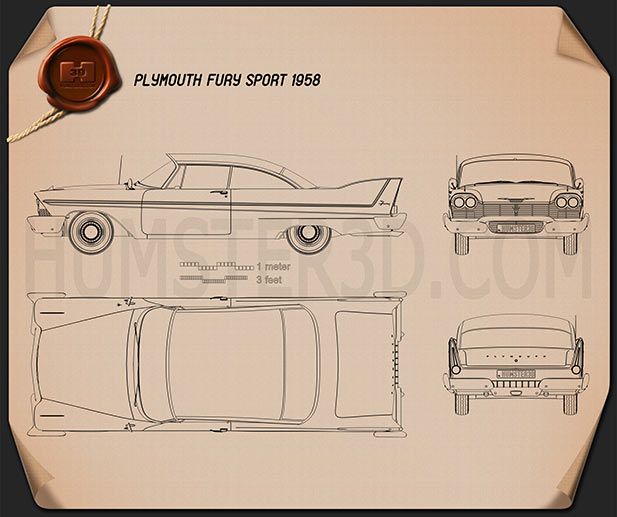 Plymouth Fury coupe Christine 1958 Blueprint