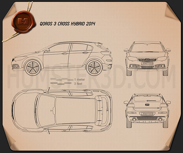 Qoros 3 Cross Hybrid 2014 Blueprint