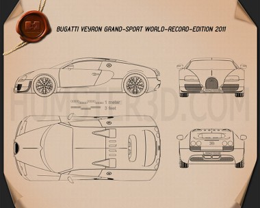 Bugatti Veyron Grand-Sport World-Record-Edition 2011 Blueprint