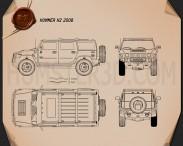 Hummer H2 2009 Blueprint 3d model