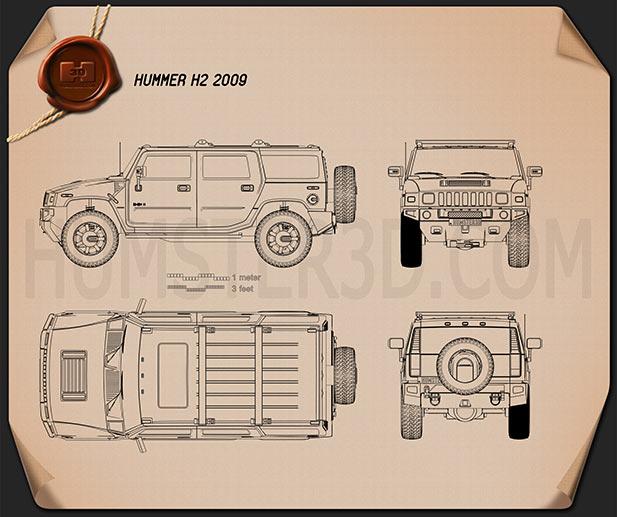 Hummer H2 2009 Blueprint
