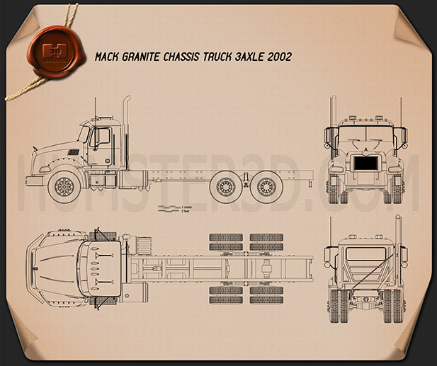 Mack Granite Chassis Truck 2002 Blueprint