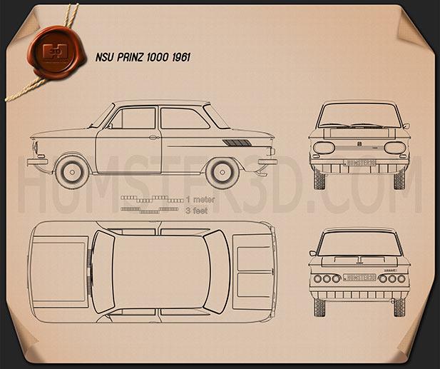 NSU Prinz 1000 1961 Blueprint