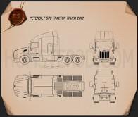 Peterbilt 579 Tractor Truck 2012 Blueprint