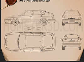 Saab 9-3 Hatchback 5-door 2001 Blueprint