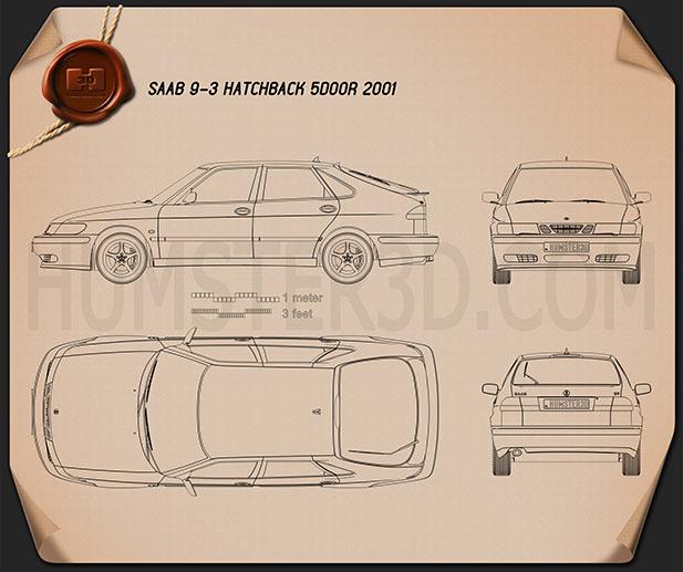 Saab 9-3 hatchback 5-door 2001 Blueprint