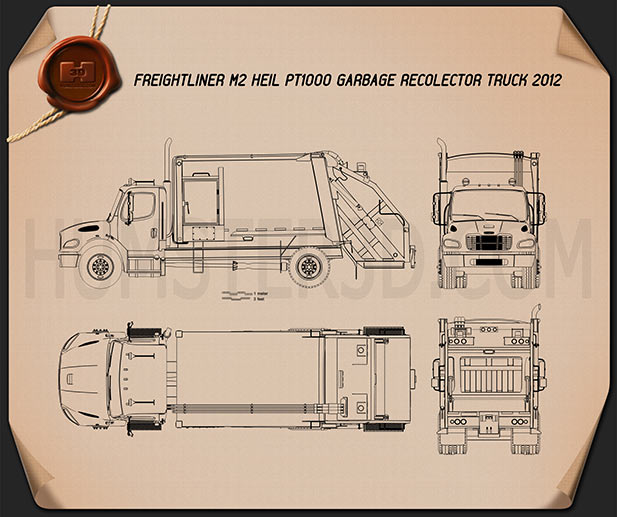 Freightliner M2 Heil PT 1000 Garbage Truck 2012 Blueprint