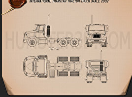 International Transtar Tractor Truck 2002 Blueprint